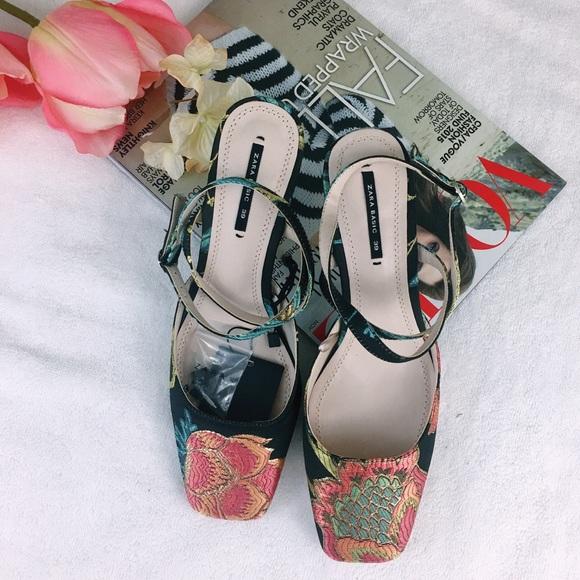 14d81825381 Zara embroidered floral kitten heel slingback heel